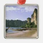 Asia, Tailandia, Krabi. Playa del oeste de Railay, Adorno Navideño Cuadrado De Metal