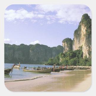 Asia, Tailandia, Krabi. Playa del oeste de Railay, Pegatina Cuadrada
