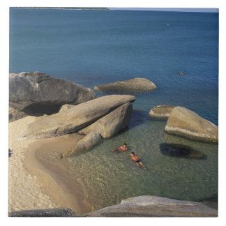 Asia, Tailandia, Samui. Playa Azulejo Cuadrado Grande