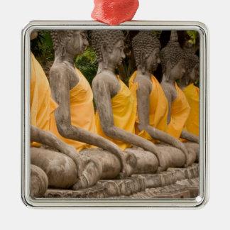 Asia, Tailandia, Tailandia, Buddhas en Ayutthaya Adorno Cuadrado Plateado