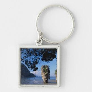 Asia, Thailand, Ao Phangnga NP, coatline, Karst Silver-Colored Square Keychain