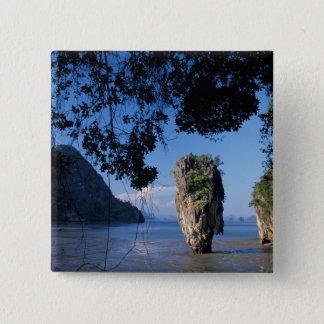 Asia, Thailand, Ao Phangnga NP, coatline, Karst Pinback Button