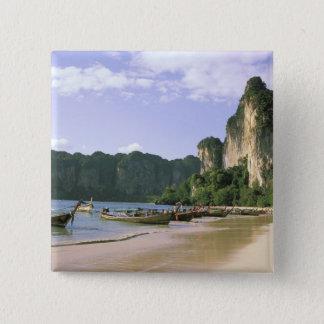 Asia, Thailand, Krabi. West Railay Beach, long Pinback Button