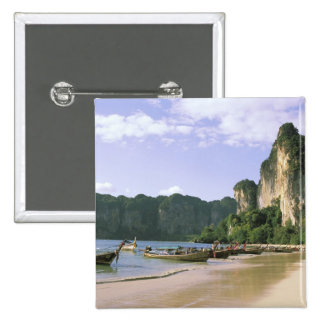 Asia, Thailand, Krabi. West Railay Beach, long Pinback Button