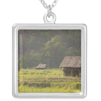Asia, Thailand, Mae Hong Son, Rice huts in the Silver Plated Necklace