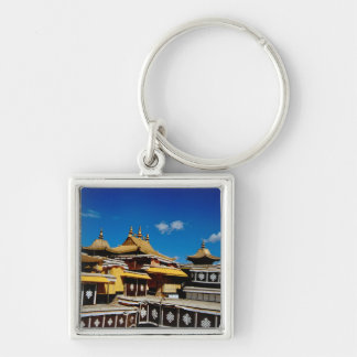 Asia, Tibet, Lhasa, Potala Palace aka Red Silver-Colored Square Keychain