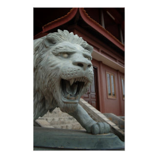 Asia, Vietnam. Lion sculpture at Chau Doc Poster