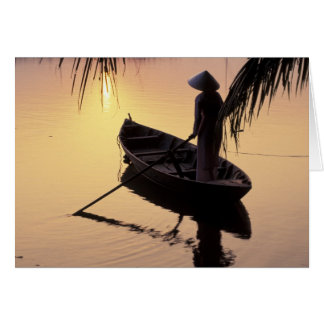 Asia, Vietnam, Mekong Delta, Can Tho. Evening Greeting Cards