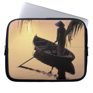 Asia, Vietnam, Mekong Delta, Can Tho. Evening Laptop Sleeve