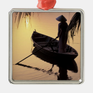 Asia, Vietnam, Mekong Delta, Can Tho. Evening Square Metal Christmas Ornament
