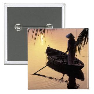 Asia, Vietnam, Mekong Delta, Can Tho. Evening Pinback Button