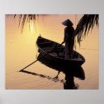 Asia, Vietnam, Mekong Delta, Can Tho. Evening Poster