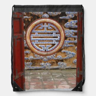 Asia, Vietnam. Ornate wall at the Citadel Drawstring Bag