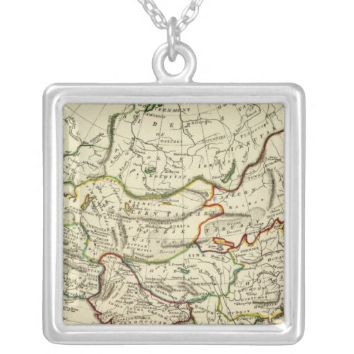 Asia with boundaries outlined necklace