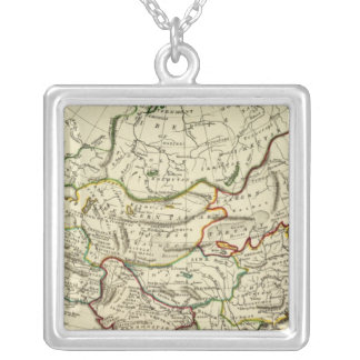 Asia with boundaries outlined square pendant necklace