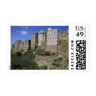Asia, Yemen, Al Hajjara. Buildings and only Postage Stamp