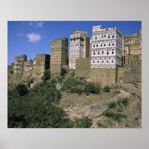 Asia, Yemen, Al Hajjara. Edificios y solamente Posters