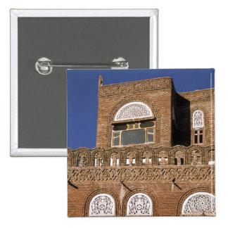 Asia, Yemen, Sana'a. Yemeni architecture detail. 2 Inch Square Button