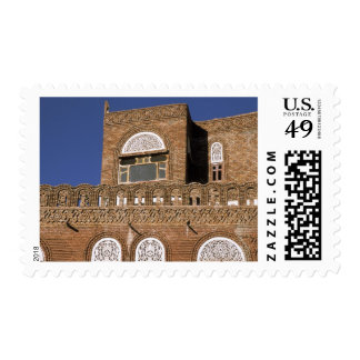 Asia, Yemen, Sana'a. Yemeni architecture detail. Postage Stamp