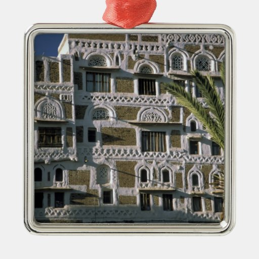 Asia, Yemen, Sana'a. Yemeni house. Square Metal Christmas Ornament