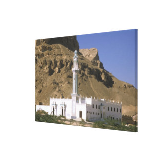 Asia, Yemen, Tarim. White mosque. Canvas Print