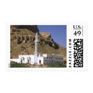Asia, Yemen, Tarim. White mosque. Stamp