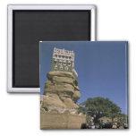 Asia, Yemen, Wadi Dhar. Rock Palace, or Dar Al 2 Inch Square Magnet