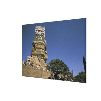 Asia, Yemen, Wadi Dhar. Rock Palace, or Dar Al Canvas Print