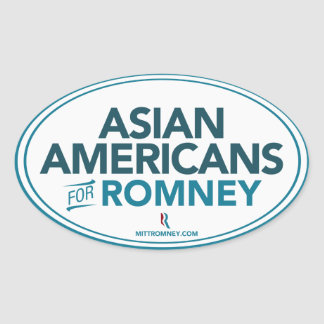 Asian Americans For Mitt Romney 2012 Oval Sticker