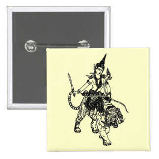 ASIAN ANGEL GOD ON TIGER 2 INCH SQUARE BUTTON