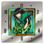 Asian Anime Cartoon Girl Wall Clock