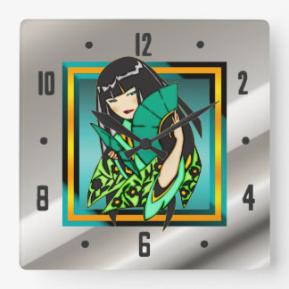 Asian Anime Cartoon Girl Wall Clock