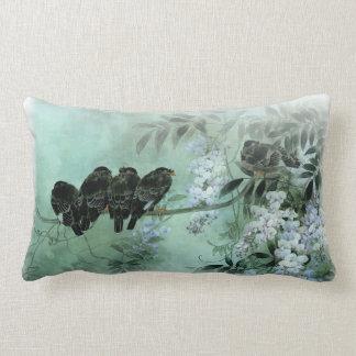 Asian Art Birds on a Wisteria Branch Lumbar Pillow