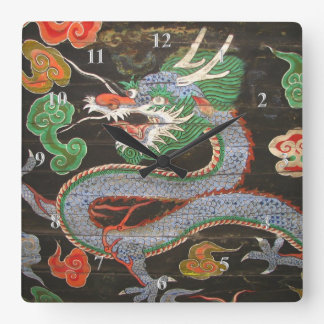 Asian Art Bright Colorful | Dragon Square Wall Clock