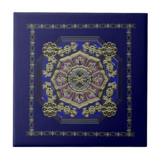 Asian Art Deco Traditional Jeweled Ceramic Tile