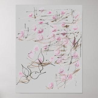 Asian Art & Flowers Poster