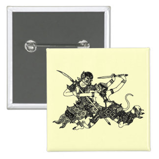ASIAN ART GODS FIGHTING SWORDS 2 INCH SQUARE BUTTON