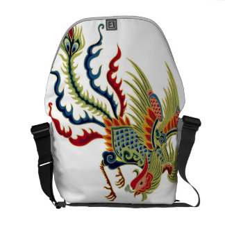 Asian Art Rooster Messenger Bag