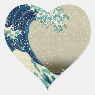 Asian Art - The Great Wave off Kanagawa Heart Sticker