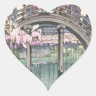 Asian Art Vintage Oriental Classic Masterpiece Heart Sticker