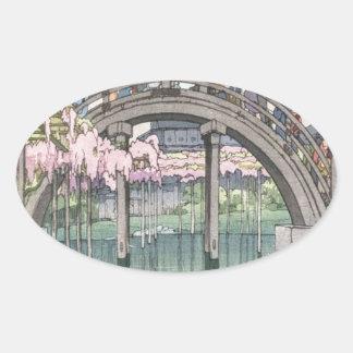 Asian Art Vintage Oriental Classic Masterpiece Oval Sticker