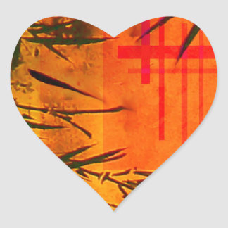 Asian Bamboo Art Heart Sticker