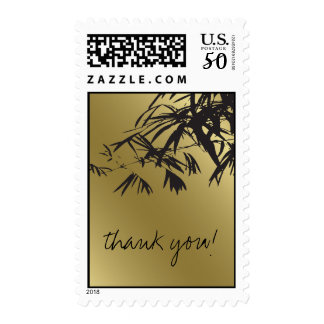 Asian Bamboo Leaves Black Gold Thank You Stamps