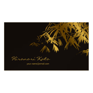 Asian Bamboo Leaves Gold Black Zen Profile Cards Business Card