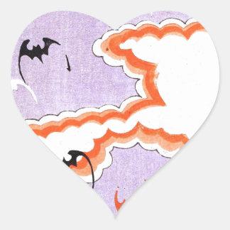Asian Bats Vintage Design Heart Sticker