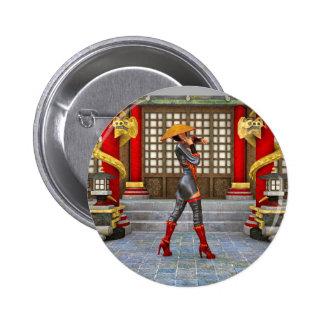 Asian Battle Woman Pinback Button