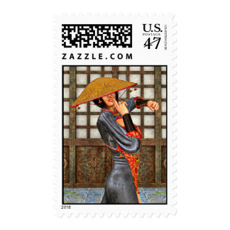 Asian Battle Woman Postage Stamp