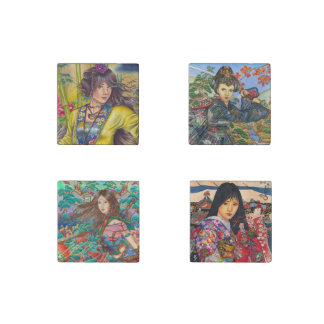 Asian beauties magnets, set of 4 stone magnet