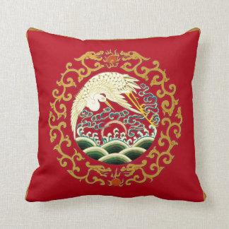Asian Bird Art on Deep Red Background Pillow