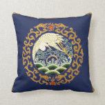 Asian Bird Art Pillow in Deep Blue